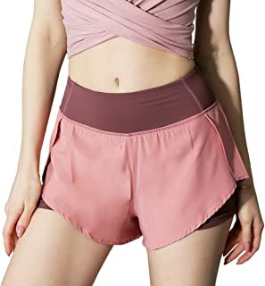Goofly Women 2 in 1 Running Shorts with Liner High Waist Yoga Shorts Active Workout Sports Shorts with Pocket