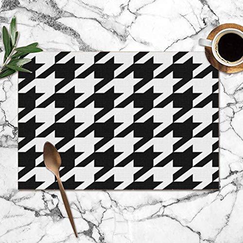 Tartan Wit Zwart Schotse Karo Abstract Mengsels meervoudig wasbaar voor eettafel druk stof dubbele tafelsets polyester voor keuken placemat 6 tafelmatten 12 x 18 inch