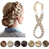 Braided Headband Plaited Hair Band Chunky Braided Headband Elastic Stretch Braid Hairband Wide Plaited Braids Blonde Black Synthetic Hairpiece For Girls And Women (Small-three strands braided, 16/613)