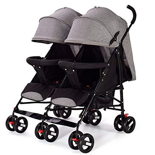 Poussette Canne légère pour bébé - Landaus Tandem jumelle - Parapluie pour poussettes compactes Pliantes - Siège inclinable - du Nourrisson au Bambin de 0 à 36 Mois Charge Max de 25kg / 55lb