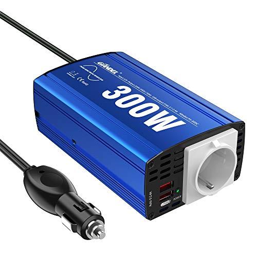GIANDEL Wechselrichter, 300 W, reiner Sinus-Wechselrichter, 12 V auf 220 V, 230 V, Transformator mit 2 x 2,4 A, USB-Ports und AC-Steckdose für Auto, Laptop, Handy