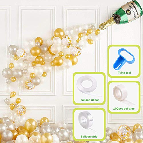 Champagne Bottle Balloons, Confetti Balloons, Latex Balloons 60PCS, Party Balloons Garland Arch Kit for Decorations, Christmas Eve, Bridal Hen/Bachelor Party Baby Shower Birthday Wedding Celebration