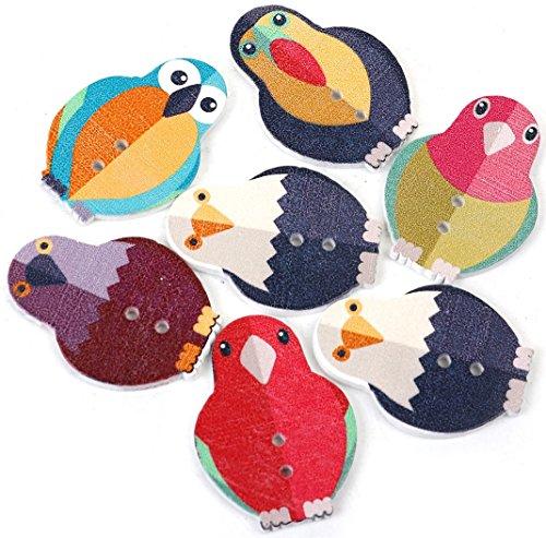 SiAura Material 50 Pezzi Bottoni in Legno Uccelli 24 X 33 mm, Diversi Colori, 2 Fori