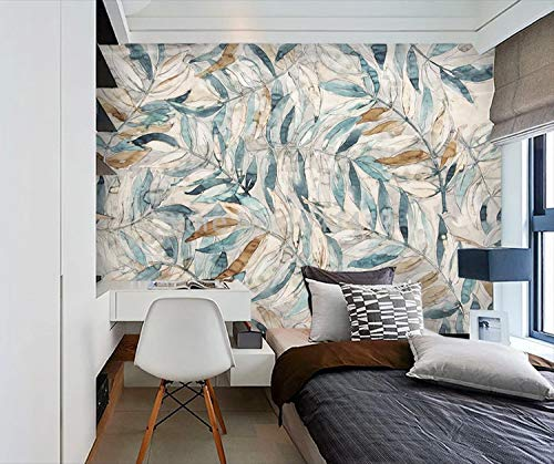 Wall Store Murals,Custom Photo Wallpaper Leaves Easy-to-use Hand-Painted Retro B