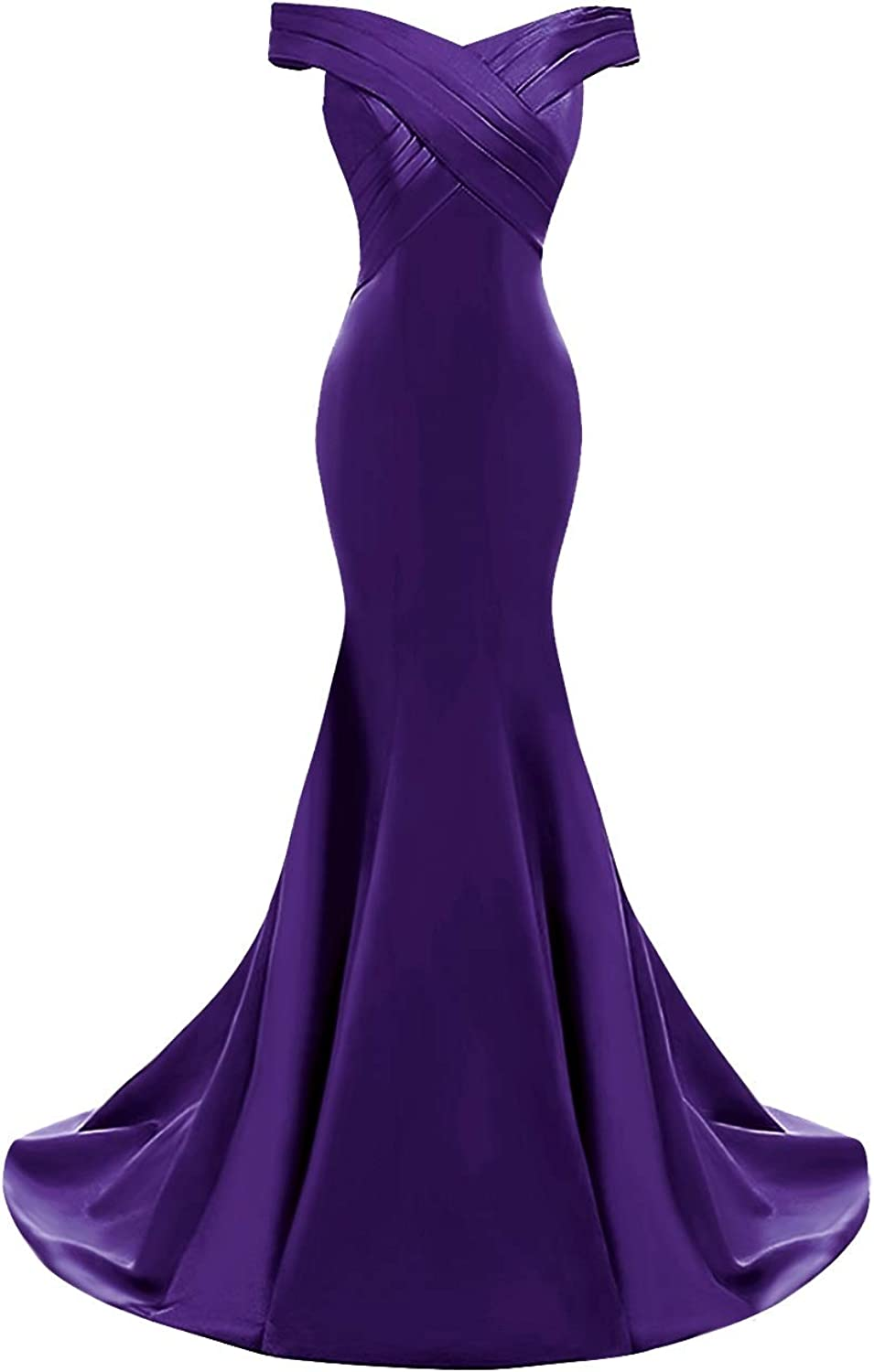 SUNFURA Women's Mermaid Off Shoulder Long Ruched Formal Prom Evening Dress