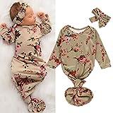 Che 0-6M Recién Nacido Bebé Niñas Niños Saco de Dormir Flores Imprimir Manta Infantil Swaddle Wrap Gown Diadema Set, 6M