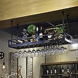Rack di calici a Sospensione | Vino Rosso da soffitto Creativo | Portabicchieri | Portabicchieri sospeso Vintage | Altezza Regolabile GW (Colore : Nero, Dimensioni : L80×W35cm)