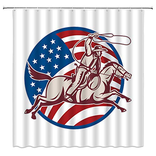 BCNEW American Flag Shower Curtain Cowboy Lasso and Horseback Riding Western Cowboy Badge Country Vintage Logo Polyester Fabric Bathroom Decor Set 70×70 Inch with Hook Hole