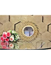 SATYAM KRAFT Fibre Wall Mirror (23.5 × 23.5 cm, Gold)