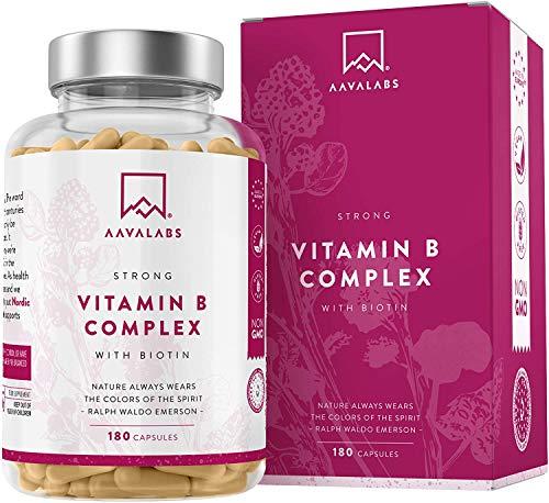Complesso Vitaminico B - 180 capsule - 296.3 mg/Dose Giornaliera - Riduzione della Stanchezza + Fatica - Promuove il Normale Metabolismo Energetico - 100% Vegano - Qualità Nordica di AAVALABS