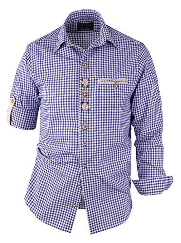 Moschen-Bayern Herren Hemd Trachtenhemd Karohemd Langarm Kurzarm Kariert Wiesn Hemd Oktoberfest Freizeithemd Trachten Blau