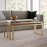 Henn&Hart Modern Nesting, 2-Piece Glass Set, Rectangular Cocktail Living Room, Den, Kitchen, Coffee Table, 46' H x 22' L x 17' W, Gold/Brass Finish