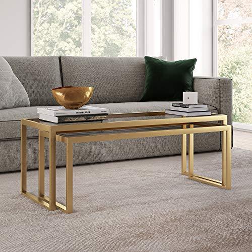 "Henn&Hart Modern Nesting, 2-Piece Glass Set, Rectangular Cocktail Living Room, Den, Kitchen, Coffee Table, 46"" H x 22"" L x 17"" W, Gold/Brass Finish"
