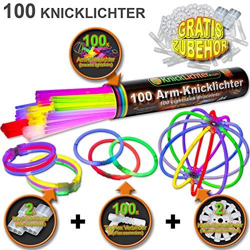 100 Knicklichter Set mit 204 Teile | FREIE FARBWAHL | inklusive TopFlex Armverbinder | dreifach Armband Steckverbinder | Ball- / Kreisverbinder | Profiqualität