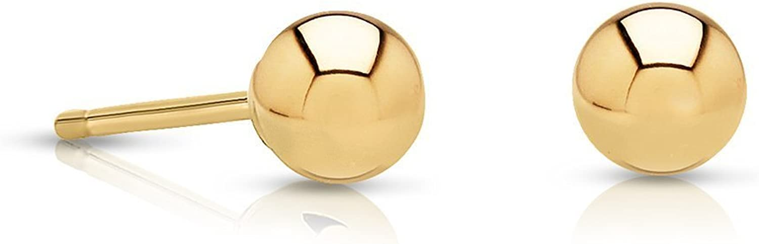 Premium Polished 14K Yellow Gold Round Ball Stud Earrings with 14k Gold Pushback