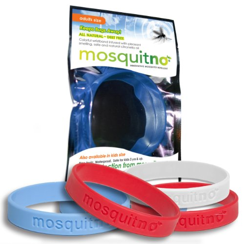 Mosquitno Natural, Citronella, Waterproof Mosquito Repellent Wristbands, Adult, 5-Pack, Red/White/Blue