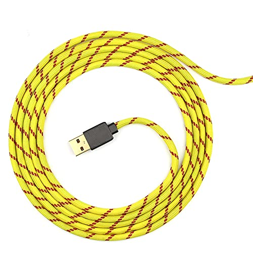 Paracord Mouse Cable for Gaming Mice - for Logitech G203 Series - (Yellow Red 175)