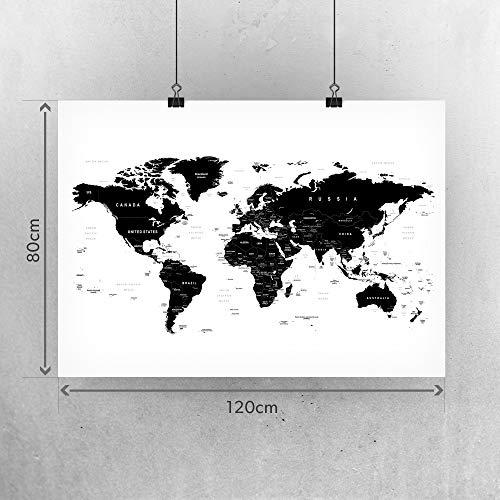 Weltkarte Wanddekoration - Weltkarte Wandbild Design Motiv XXL Poster - Design Style Worldmap (120 x 80 cm) (Schwarz Weiß)