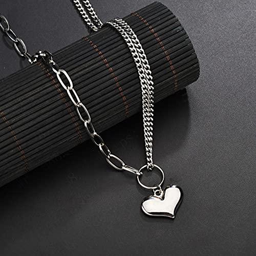 N/A Collar Versión Coreana De La Tendencia De Estilo Retro Melocotón Corazón Colgante Amor Collar Femenino Frío Cadena Salvaje Collar De Acero De Titanio