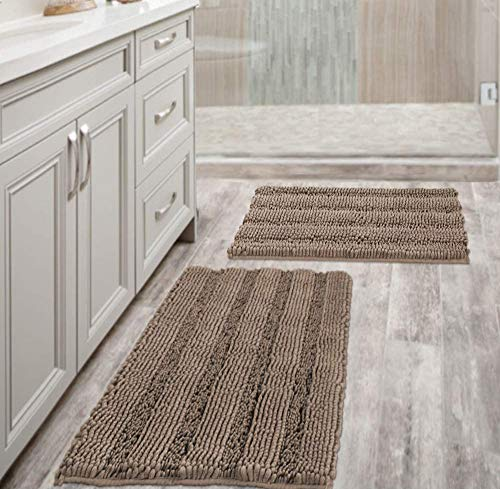 Extra Thick Chenille Striped Pattern Bath Rugs for Bathroom Non Slip - Soft Plush Shaggy Bath Mats for Bathroom Floor, Indoor Mats Rugs for Entryway (Taupe Brown, 32 x 20 Plus 24 x 17 - Inches)