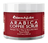 iBeautyLabs Arabica Coffee Face and Body Scrub – Antimicrobial Scrub for Dry and Dead Skin Removal – 100% Natural Facial Scrub and Exfoliator, Paraben and Sulphate Free