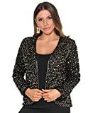 KRISP Bolero Elegante Mujer Fiesta Torera Talla Grande Punto Boda Blazer Traje Americana Chaqueta para Vestido, (Dorado (2817), S (36-38)), 2817-GLD-S