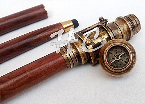 Envejecido de madera bastón plegable stick con oculta espía náutico