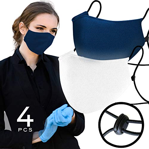 Navy Blue (2) & White (2) Face 𝖬𝖺𝗌𝗄𝗌 Waterproof Nano-Zinc Tech & 3D Designed Strapped with Adjustable Ear Loops Washable Reusable up to 30 Times 1 Size FITS All