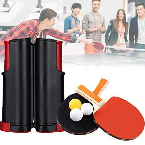 Tragbare Ping Pong-Sets, Ping Pong Set mit 2 Tischtennis Schläger | 4 Tischtennis Bälle | 1 Einziehbare Tischtennisplatte und Beutel, Kinder Erwachsene Indoor/Outdoor-Spiel - for Schule