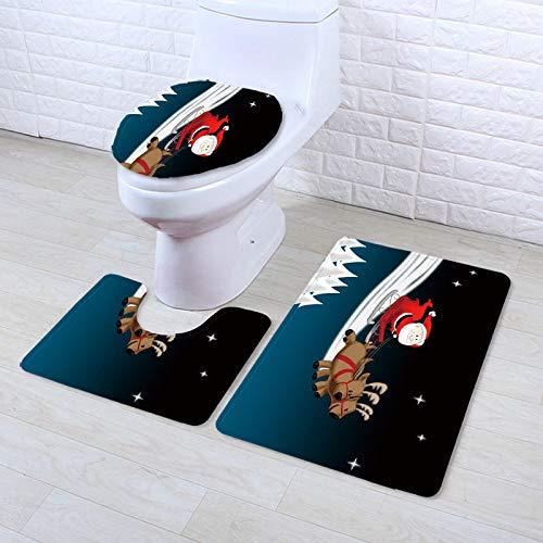 WEIFENG Außenhandel Bad WC Teppich dreiteilige Schlafzimmer Bodenmatte Haushalt Fußmatte Duschvorhang sdj0193 50 * 80 cm + 50 * 40 cm + 45 * 35 cm