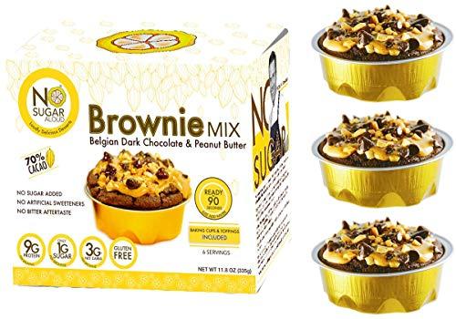 No Sugar Aloud Dark Belgian Chocolate Brownie Mix (No Sugar Added, Gluten Free, Dairy Free, Egg Free, Keto, Vegan, Diabetic Friendly) 11.8 0Z (Makes 6 Cups)