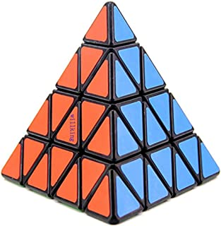Willking Pyramid Speed Cube 4x4 Pyraminx Puzzle Triangle Twist Magic Cube Black