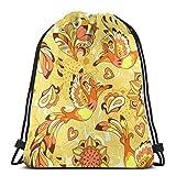 Colorido patrón con pájaro Phoenix y girasol, imagen vectorial para mujeres y niñas, mochila con cordón, bolsa de deporte, bolsa de hombro, para hombres y mujeres