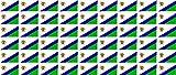 Mini Aufkleber Set - Pack glatt - 20x12mm - Sticker - Lesotho - Flagge - Banner - Standarte fürs Auto, Büro, zu Hause & die Schule - 54 Stück