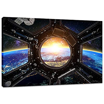 Innopics Outer Space Wall Art International Space Station Picture Print on Canvas Modern Home Decor Spacecraft Poster Painting Framed for Office Living Room Kids Bedroom Decoration by Innopics