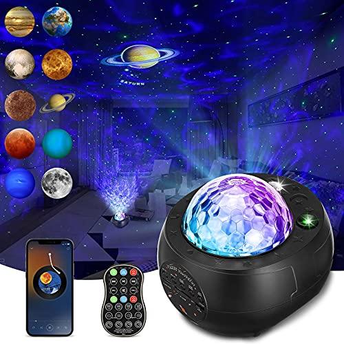 LED Sternenhimmel Projektor, Planeten Projektor Sternenlicht Projektor, 10 Planetenprojektionen, LED Einschlafhilfe Lampe mit Fernbedienung/Bluetooth Musikspieler für Kinder Erwachsene