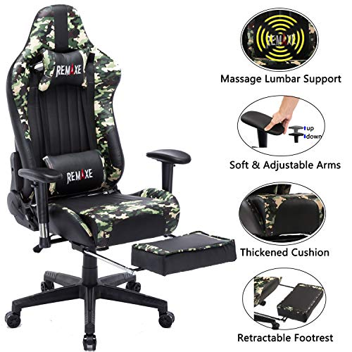 Gaming Chair with Footrest,Computer Gaming Chair High-Back Racing Chair,PU Leather Executive Office Chair with Headrest & Massage Lumbar Pillow,Camo chair gaming