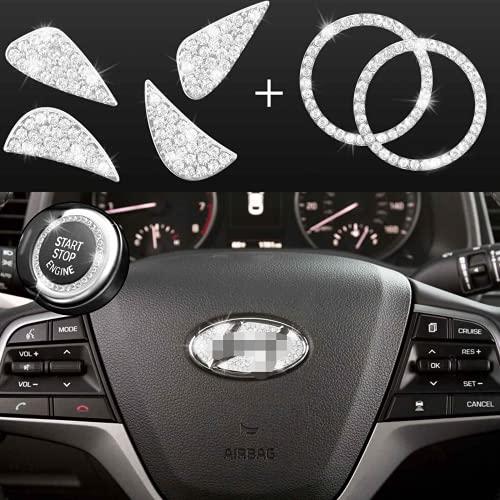 JINGSEN Bling Bling Car Steering Wheel Decorative Diamond Stickers For Hyundai Accessories Sonata Elantra IX35 IX25 Tucson Verna MISTRA Accent Steering Wheel Sign Logo Rhinestone Decals Cover