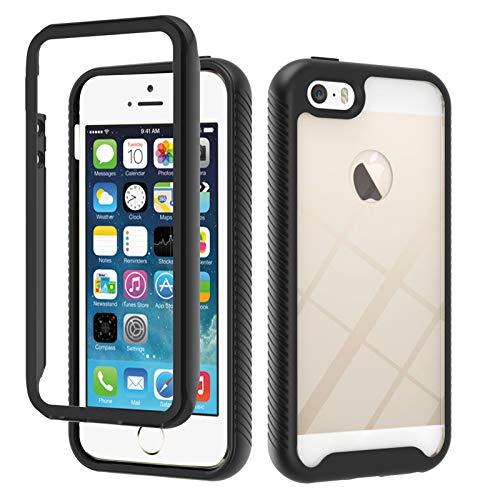 HICYCT Funda para iPhone 5 / 5S / SE, Transparente Ultra-Delgado Ligero 3 en 1 Carcasa Combinada PC Dura y Suave TPU Silicona Bumper Anti-Arañazos Antigolpes Caso para iPhone 5 / 5S / SE