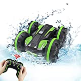 Seckton Car Toys for 6-10 Year Old Boys Girls Amphibious Remote Control Car for Kids 2.4 GHz Remote Control Boat 4WD Off Road Truck Stunt Car Waterproof RC Car for Christmas Birthday Gifts Green
