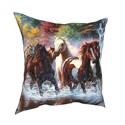 Feamo Funda de cojín para cojín de indios nativos americanos y caballos, funda de almohada cuadrada decorativa para el hogar, sala de estar, dormitorio, sofá silla, 45,7 x 45,7 cm