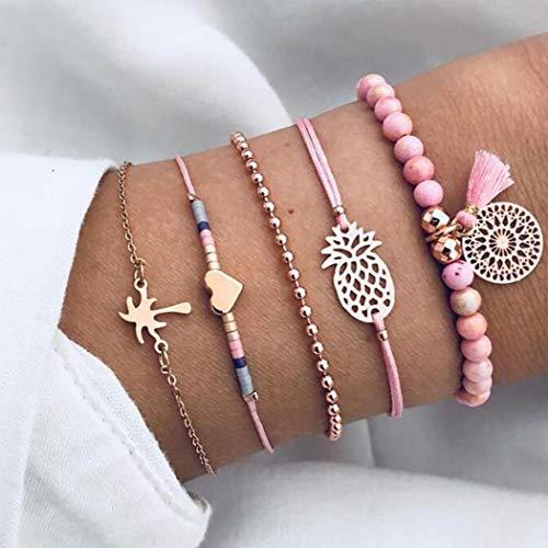 Brishow Ensemble de bracelets à pampilles multicouches réglables pour femmes et filles (1)
