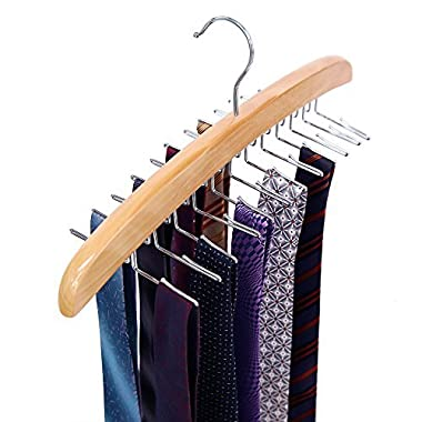 Ohuhu Wooden Tie Rack Hangers Rotating Twirl 24 Tie Organizer Rack Hanger Holder Hook