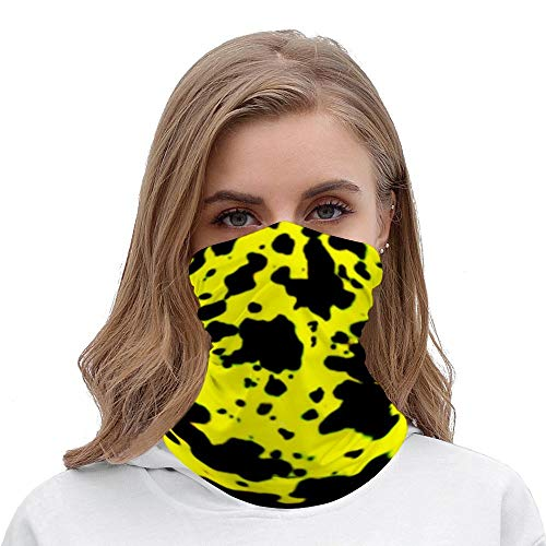 PotteLove Black Spots Neck Gaiter Tube Mask Headwear, Seamless Face Cover Mouth Mask Bandanas for Dust, Outdoors, Festivals, Sports