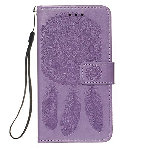 iPhone SE 2020 / iPhone 8 / iPhone 7 Case 3D Dream Catcher Shockproof PU Leather Flip Wallet Phone Cases Folio Magnetic Protective Cover TPU Bumper with Stand Card Slots Light Purple