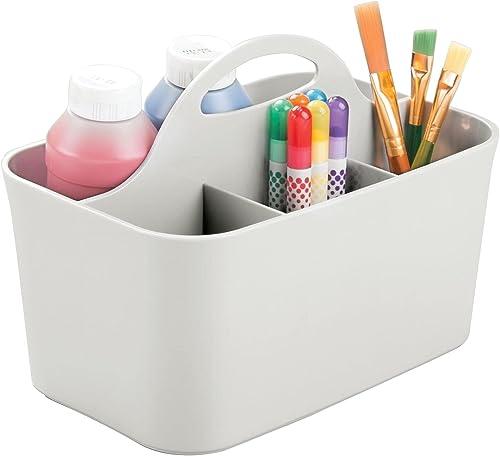 mDesign boite de rangement idéale pour fourniture de bureau – pot a crayon en plastique à 4 compartiments – rangement...