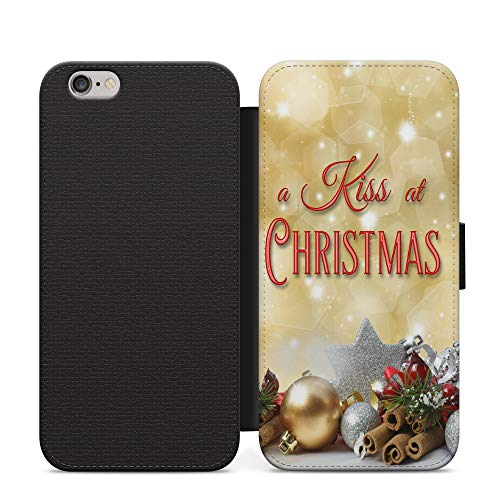 Un beso de Navidad Folio de cuero sintético abierto libro cartera teléfono caso NFC para iPhone 11...