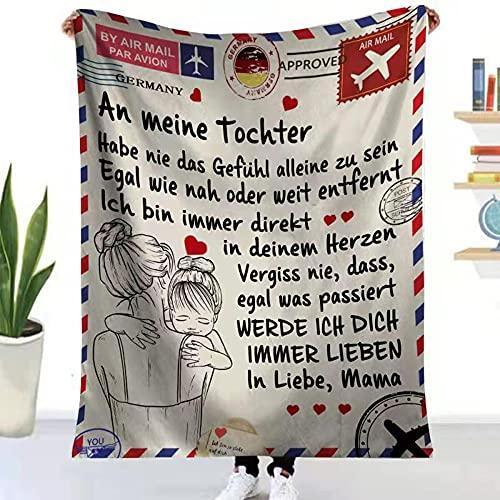 Manta estampada con carta de mi hija, suave manta felpa encriptada que anima a la madre y los seres queridos para franela regalo Navidad, cumpleaños, graduación (150 x 200 cm)
