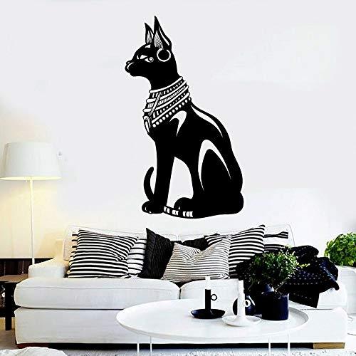 Tianpengyuanshuai Ägyptische Katze Wandaufkleber Alten Ägypten Stil Vinyl Aufkleber Wandbild Schlafzimmer Zoohandlung Tier cool kreative Tapete 75x126cm
