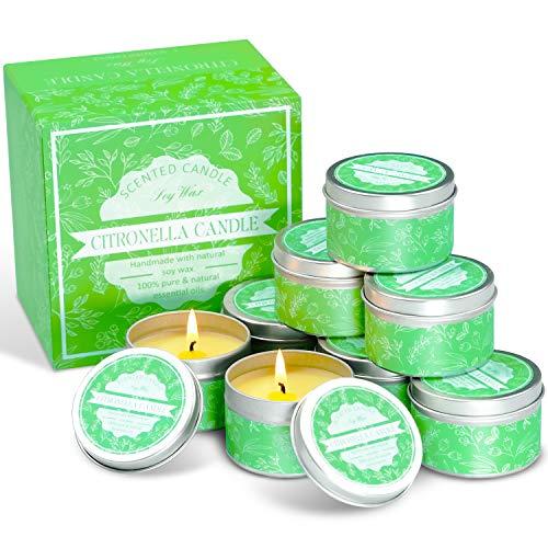 LA BELLEFÉE Citronella Kerze zur Abwehr von Mücken und Insekten - Sojawachs Outdoorkerze mit Zitronenduft für Garten, Camping, Terrasse, Picknick 8er Pack